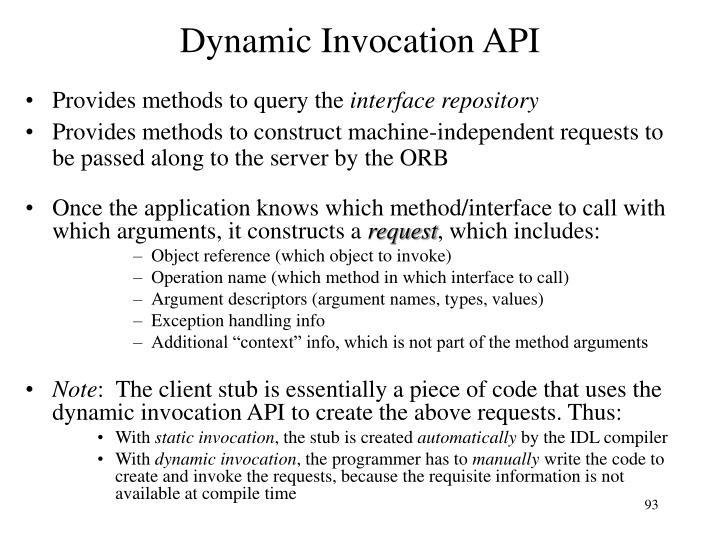 Dynamic Invocation API