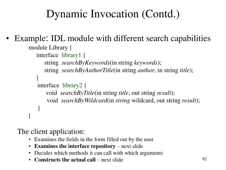 Dynamic Invocation (Contd.)