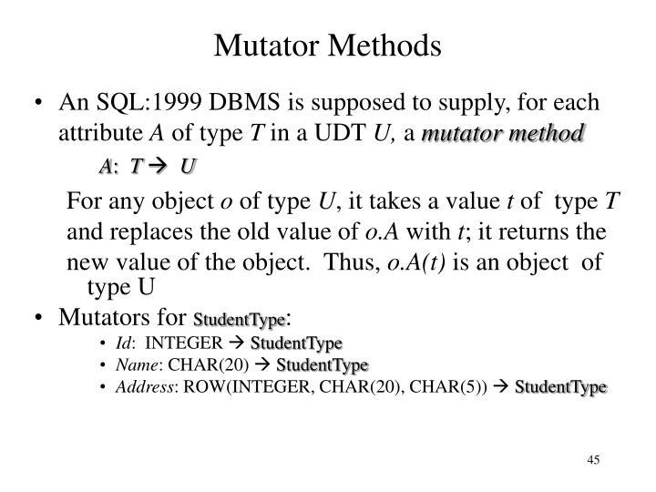 Mutator Methods