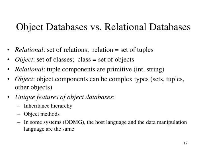 Object Databases vs. Relational Databases