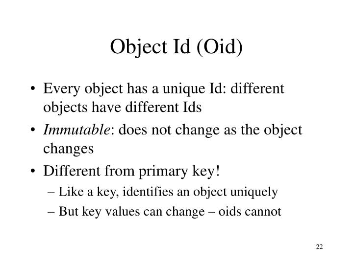 Object Id (Oid)