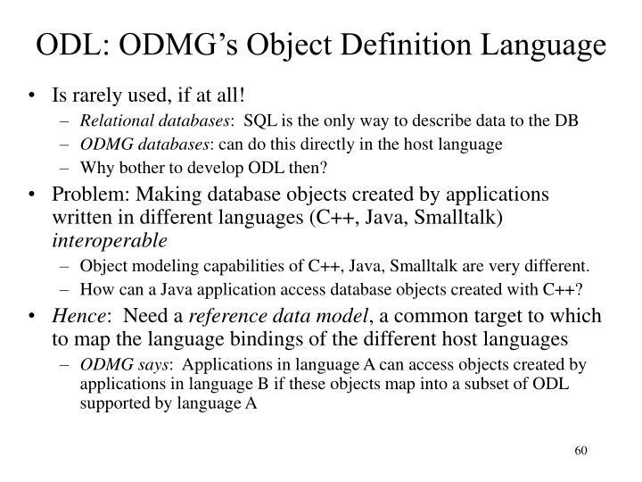 ODL: ODMG's Object Definition Language