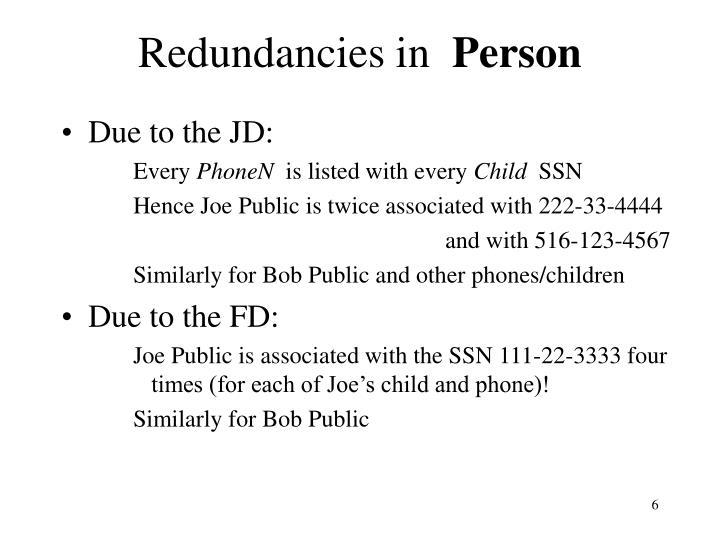 Redundancies in