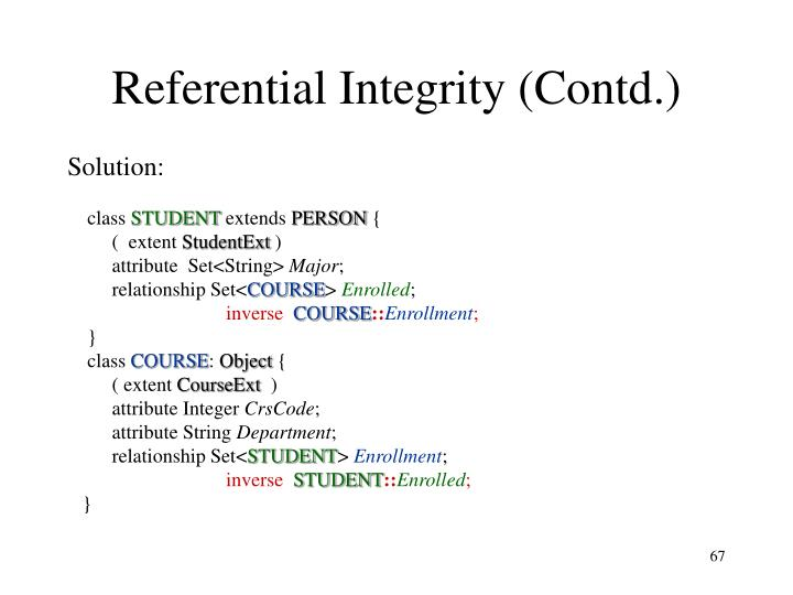 Referential Integrity (Contd.)