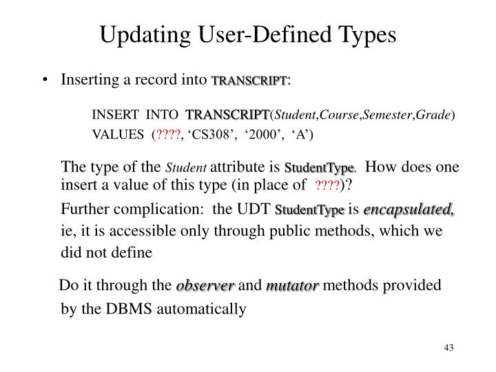 Updating User-Defined Types