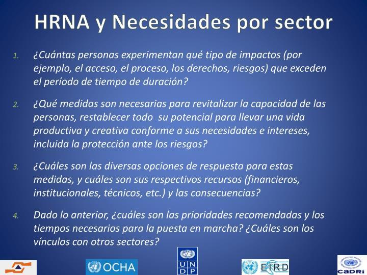 HRNA y Necesidades por