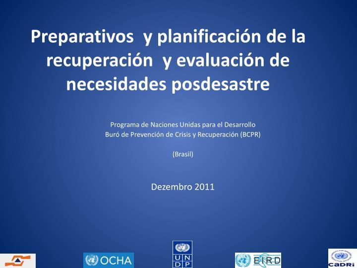 Preparativos y planificaci n de la recuperaci n y evaluaci n de necesidades posdesastre