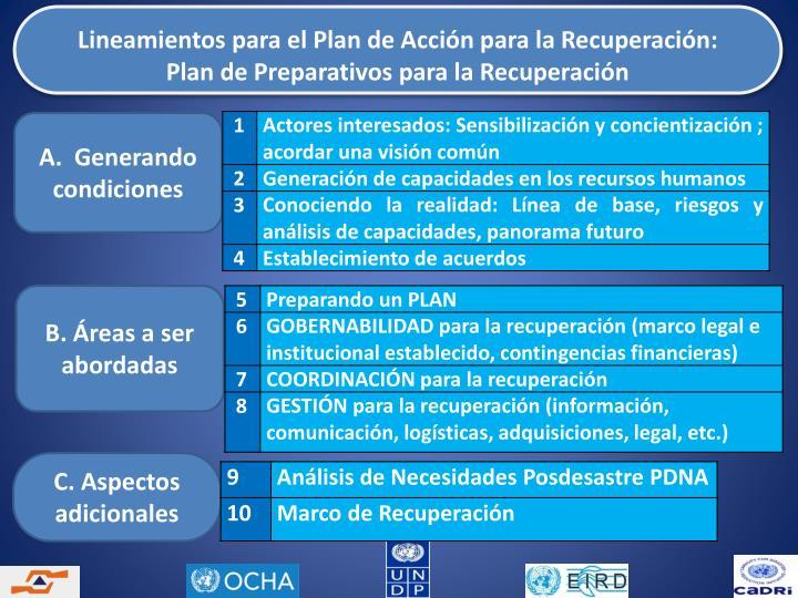 Lineamientos para el Plan de Acción para la Recuperación:                         Plan de Preparativos para la Recuperación