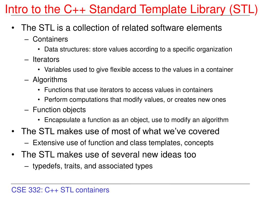 Ppt Intro To The C Standard Template Library Stl Powerpoint