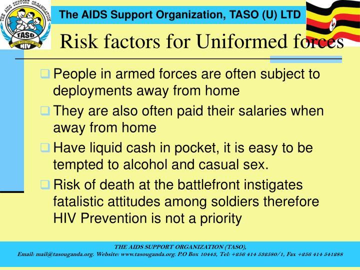 Risk factors for Uniformed forces