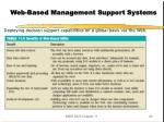 web based management support systems