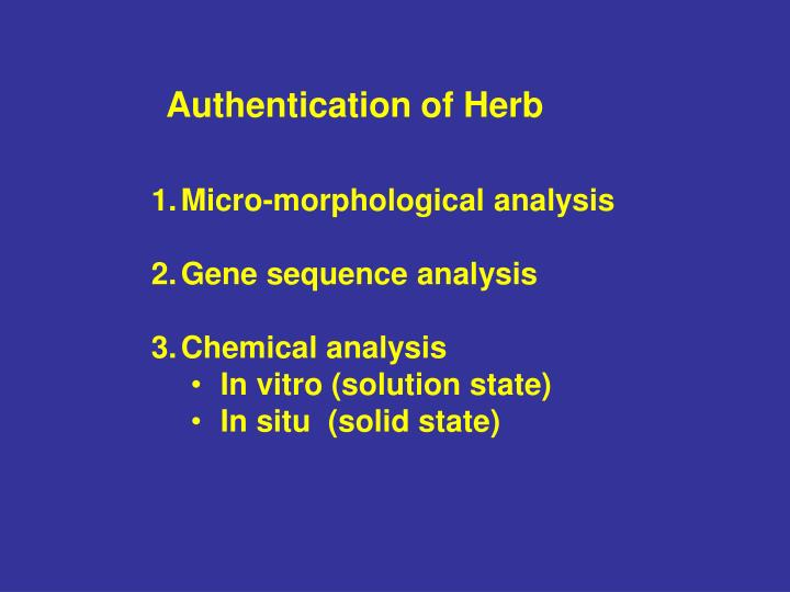 Authentication of Herb