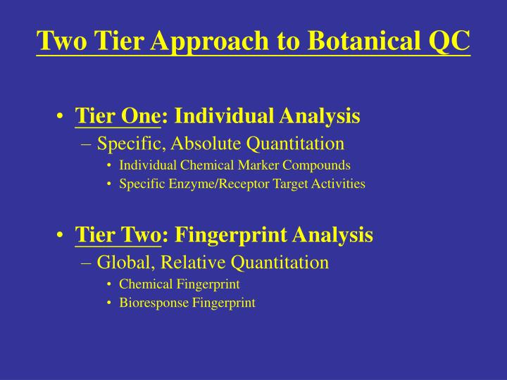 Two Tier Approach to Botanical QC
