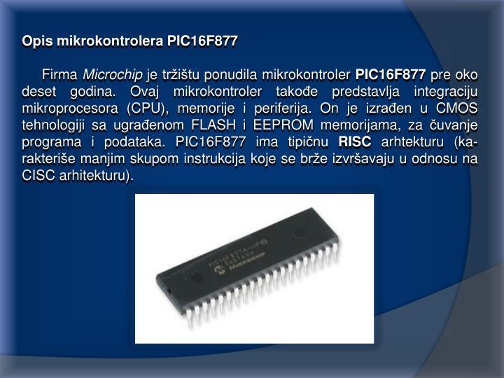 Opis mikrokontrolera PIC16F877