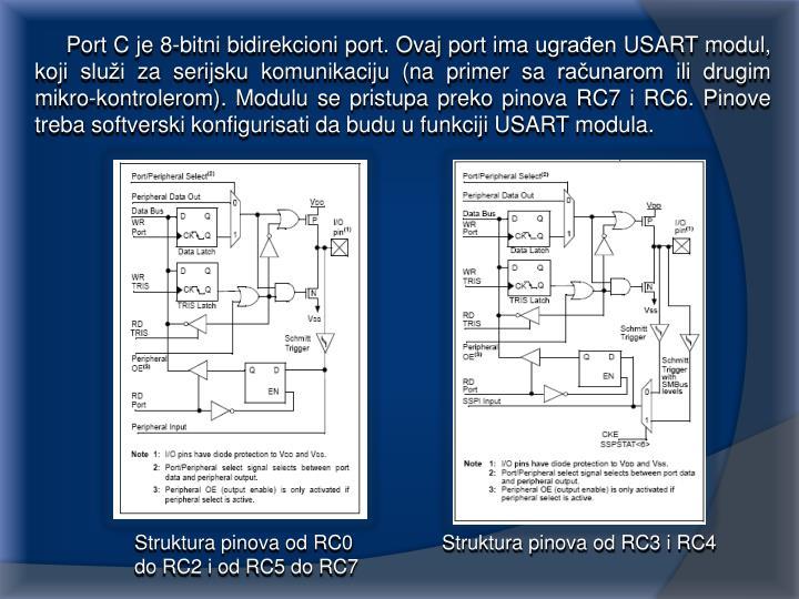 Port C je 8-bitni bidirekcioni port. Ovaj port ima ugrađen USART modul, koji služi za serijsku komunikaciju (na primer sa računarom ili drugim mikro-kontrolerom). Modulu se pristupa preko pinova RC7 i RC6. Pinove treba softverski konfigurisati da budu u funkciji USART modula.
