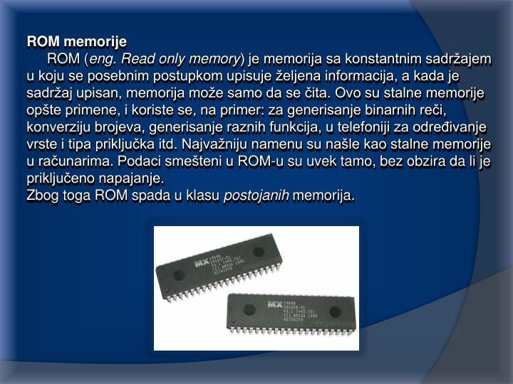ROM memorije