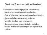 various transportation barriers