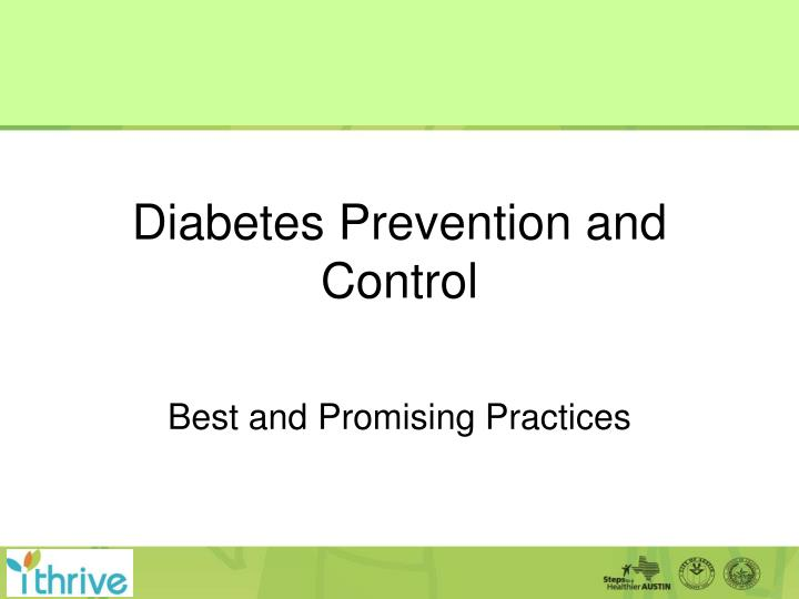 diabetes prevention and control n.