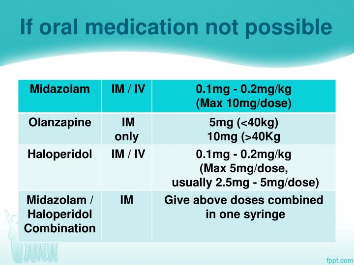 If oral medication not possible