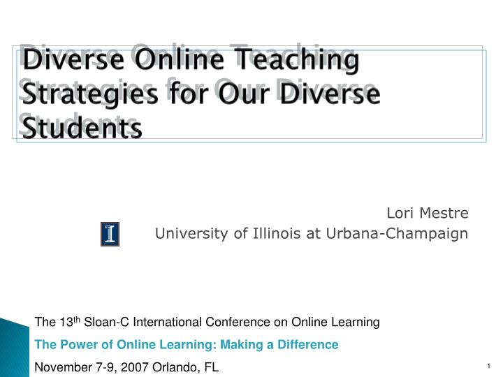 diverse online teaching strategies for our diverse students n.
