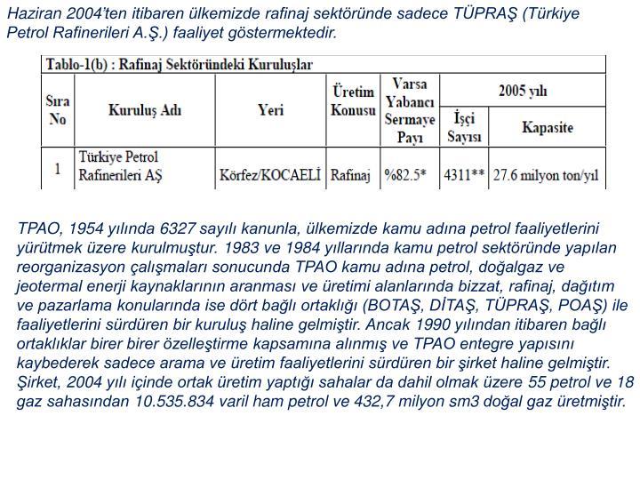 Haziran 2004'ten itibaren ülkemizde rafinaj sektöründe sadece TÜPRAŞ (Türkiye