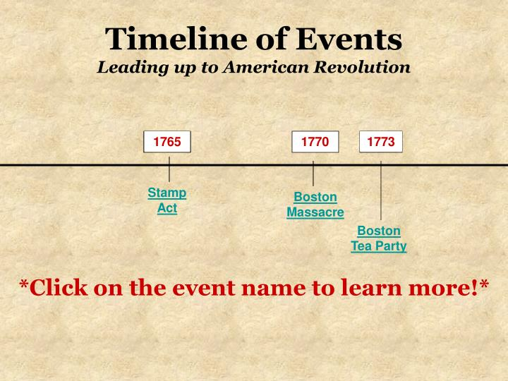 a history of events leading to the american revolution Kidinfocom's american revolution history homework helper resource page provides the best available facts about the history of the american revolution, timelines of the american revolution, causes of the american revolution, people important to the american revolution, battles of the american revolution, and documents of the american revolution.