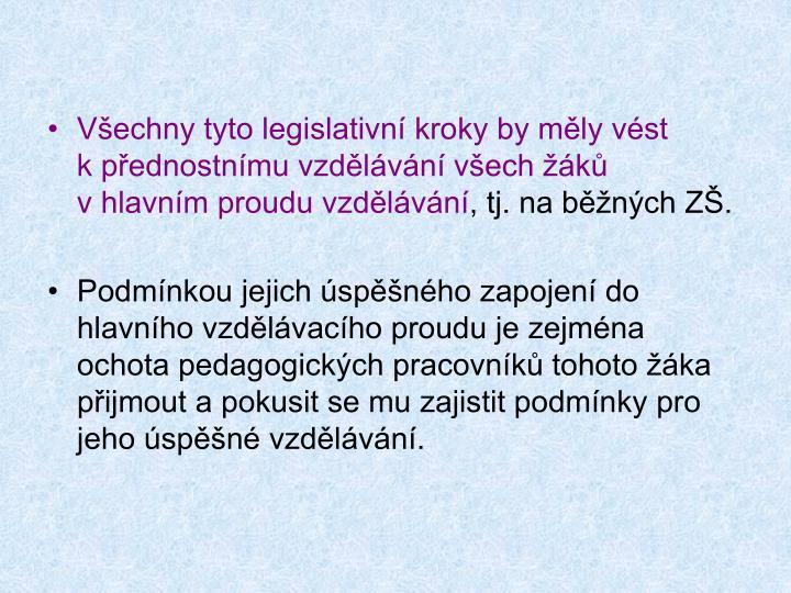 Všechny tyto legislativní kroky by měly vést kpřednostnímu vzdělávání všech žáků  vhlavním proudu vzdělávání