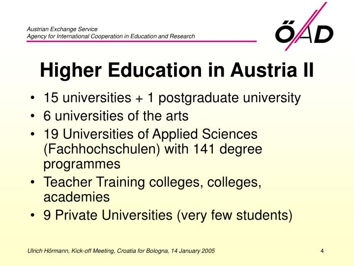 Higher Education in Austria II