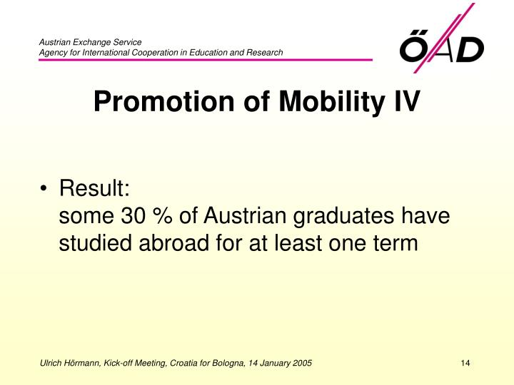 Promotion of Mobility IV