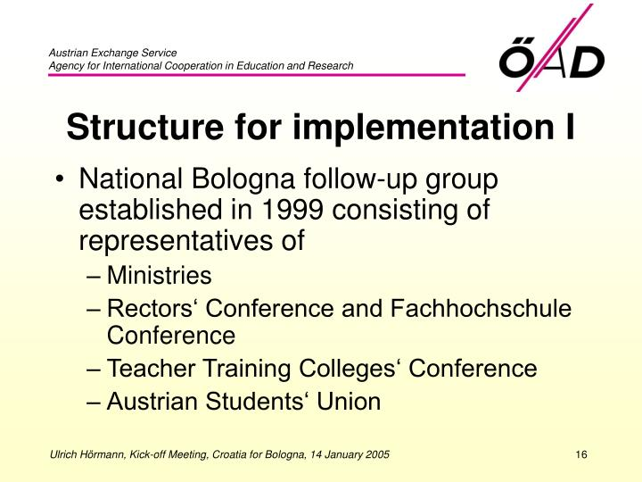 Structure for implementation I
