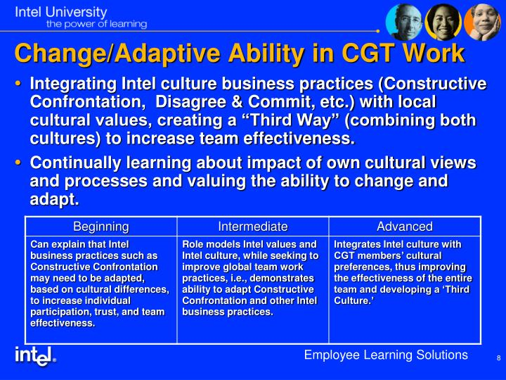 Change/Adaptive Ability in CGT Work