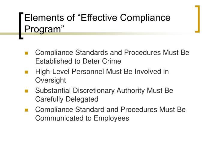 "Elements of ""Effective Compliance Program"""