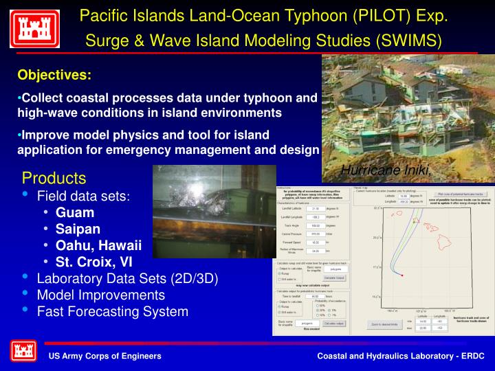 Pacific islands land ocean typhoon pilot exp surge wave island modeling studies swims