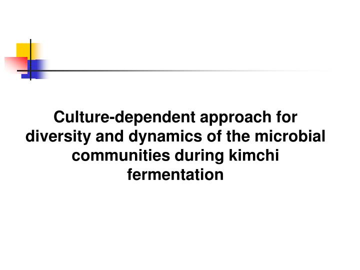 Culture-dependent approach for diversity and dynamics of the microbial communities during kimchi fermentation