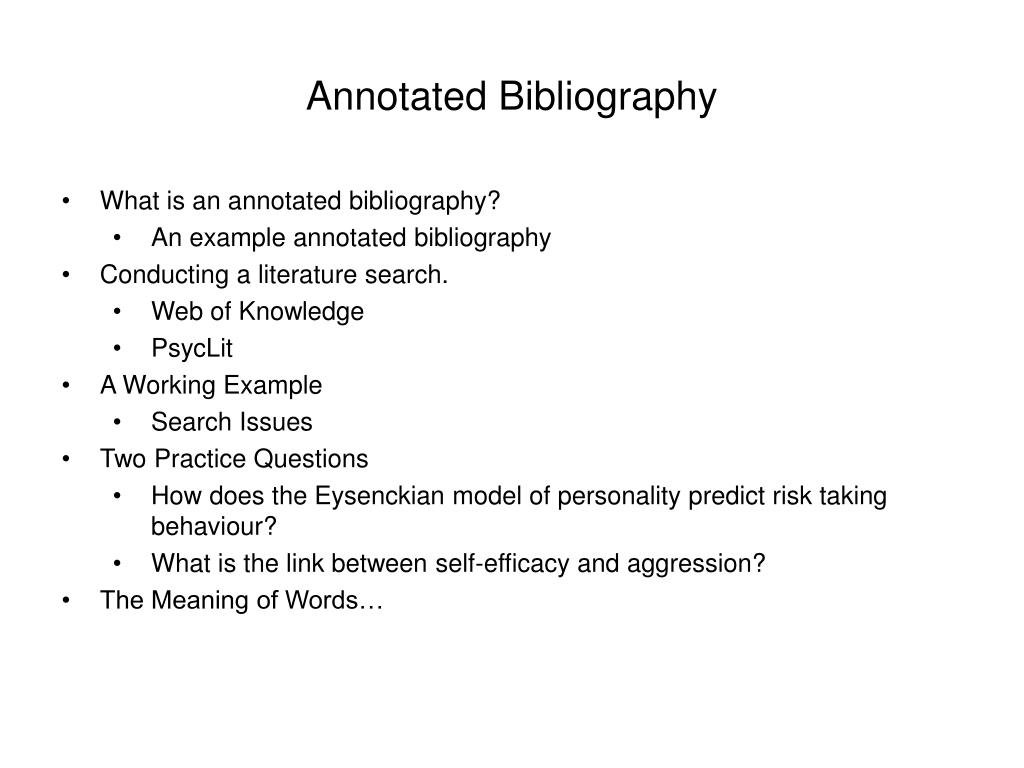 annotated bibliography questions