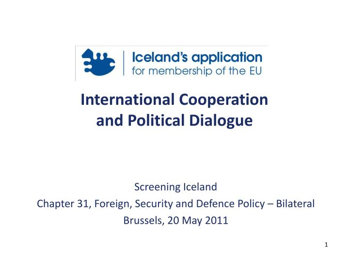 International cooperation and political dialogue