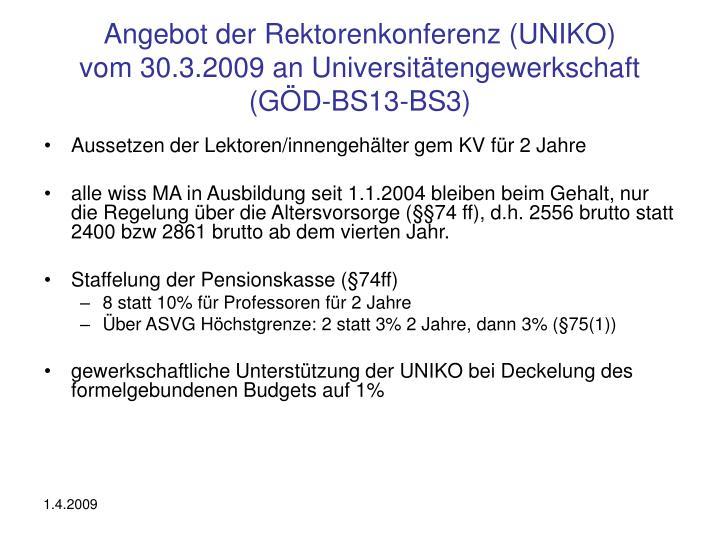 Angebot der Rektorenkonferenz (UNIKO)