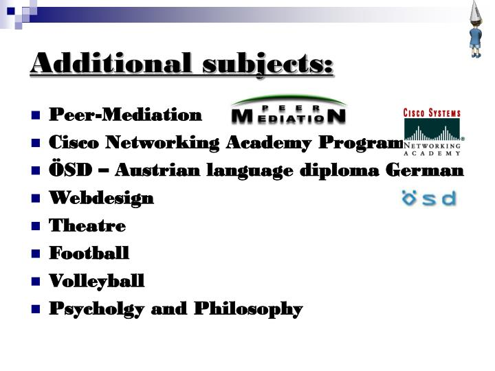 Additional subjects:
