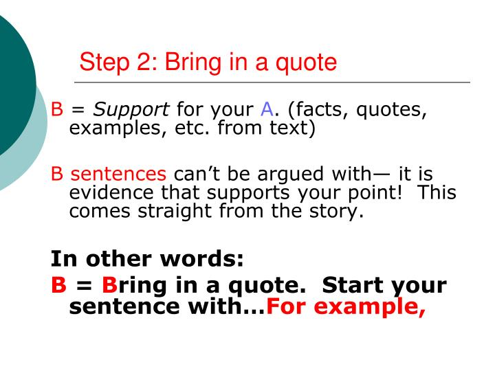 Step 2: Bring in a quote