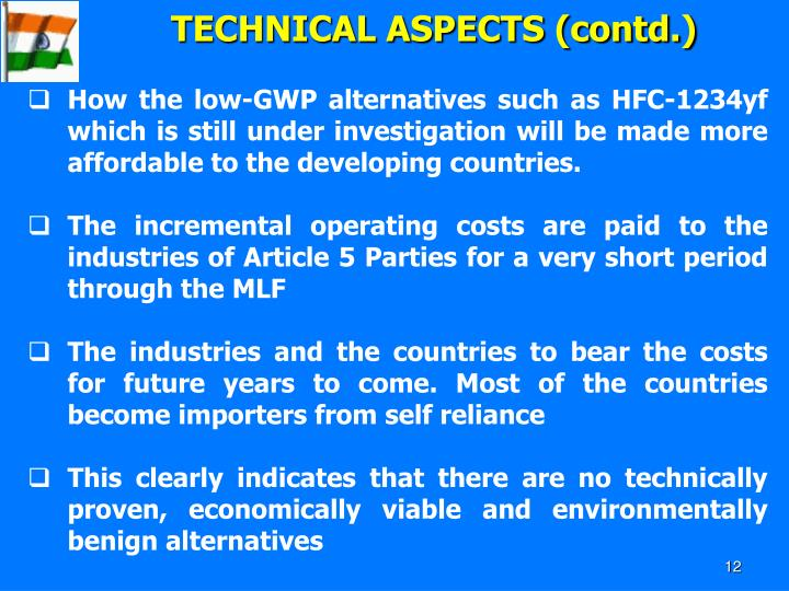 TECHNICAL ASPECTS (contd.)