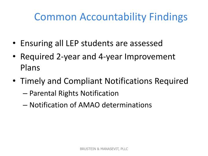 Common Accountability Findings