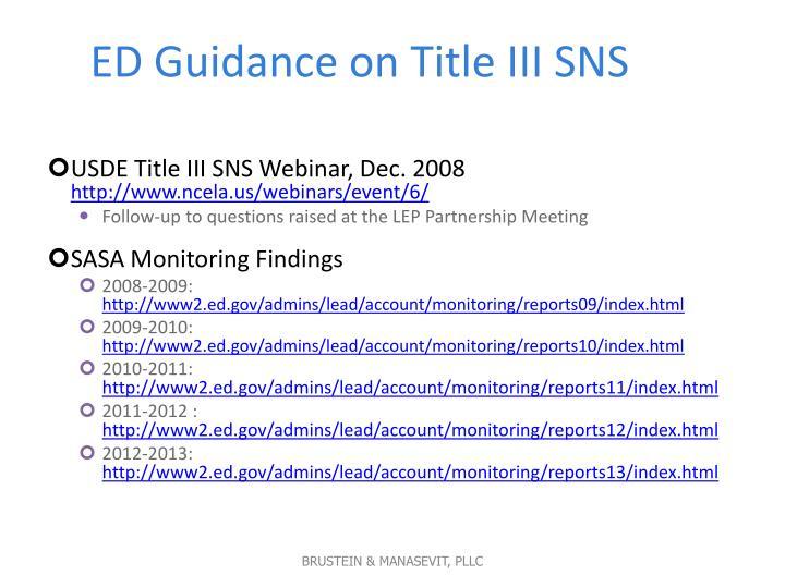 ED Guidance on Title III SNS