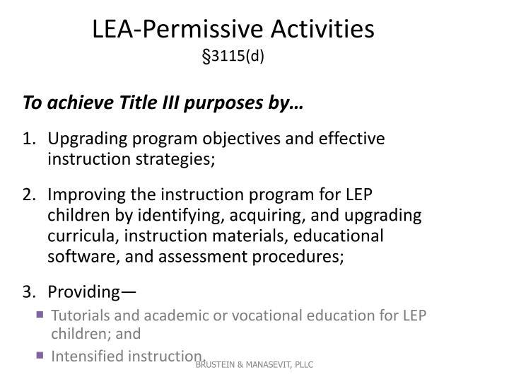 LEA-Permissive Activities