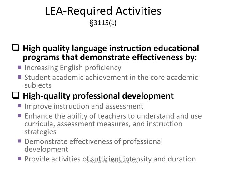 LEA-Required Activities