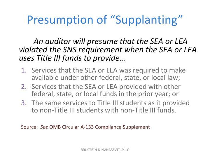 "Presumption of ""Supplanting"""
