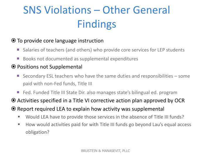 SNS Violations – Other General Findings