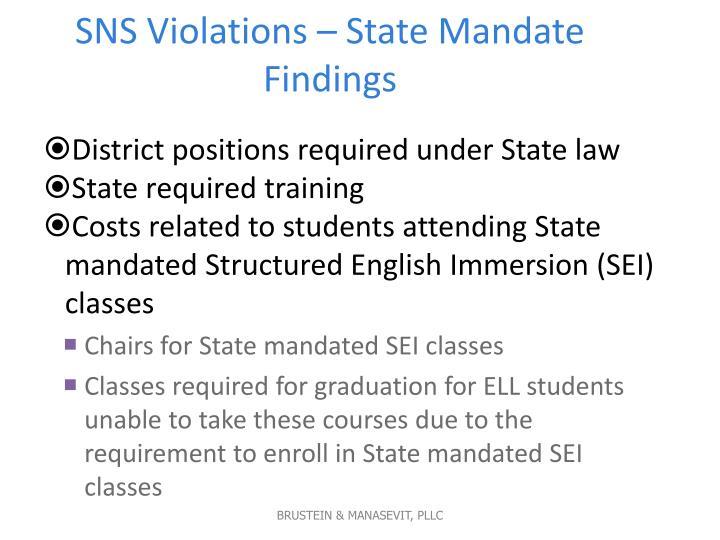 SNS Violations – State Mandate Findings