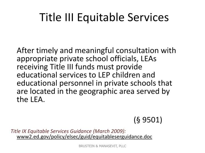 Title III Equitable Services