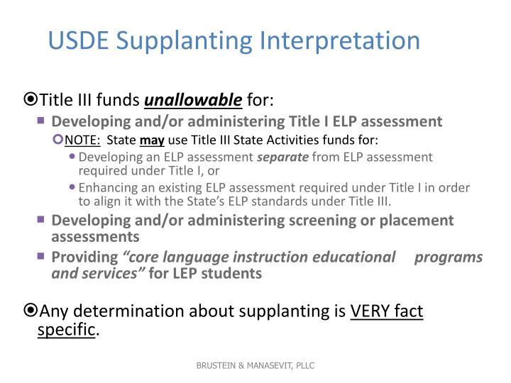 USDE Supplanting Interpretation