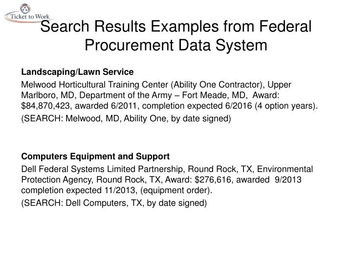 Federal Procurement Data System : Ppt introducing section creating new opportunities